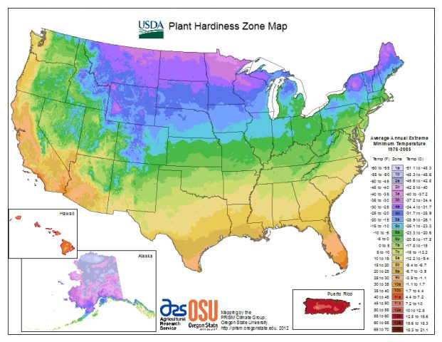 Seed sourcing, USDA cold hardiness zone