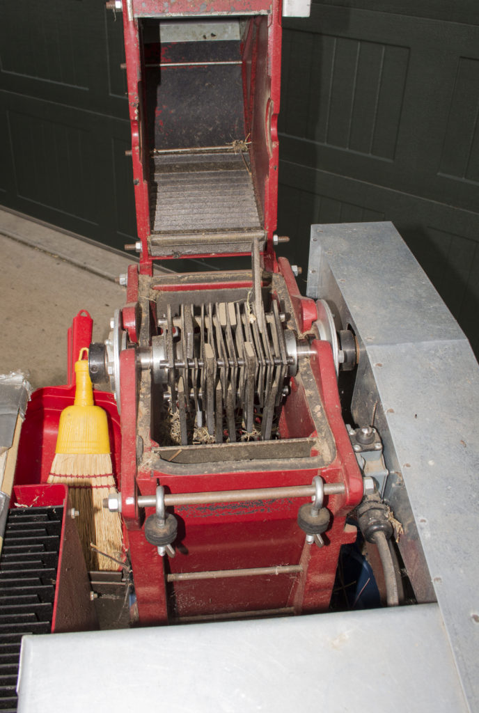 The hammers of a hammermill.